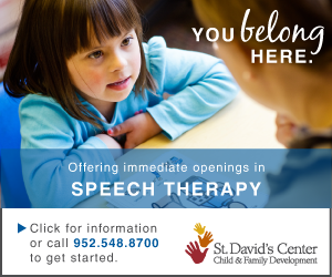 ad for speech therapy at St. David's Center